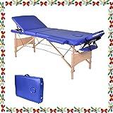 Wellhome 3 Zonen Holz Massageliege Faltbar Klappbar Leicht Massagetisch Massagebank Tragbar Höhenverstellbar Massage Bett Professionell mit Verstellbar Kopfstütze, Armlehne, Tragetasche (Blau)