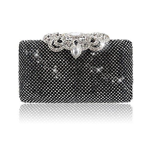 YYW Glitter Clutch Bag, Poschette giorno donna Black