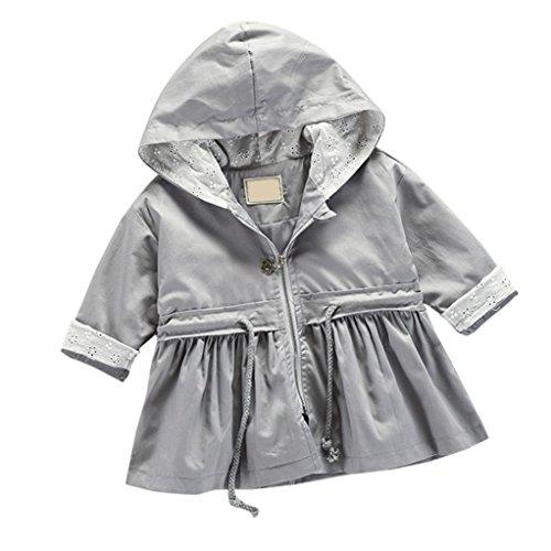 Baby Fleecejacke Hirolan Kinderkleidung Säugling Kleinkind Winter Kleider Mantel Mädchen Bomberjacke Jungen Reißverschluss Warm Outwear Beiläufig Steppjacke (100cm, Grau)