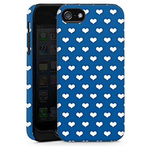 Apple iPhone 5s Housse Étui Protection Coque Petit c½ur Polka Motif Cas Tough brillant