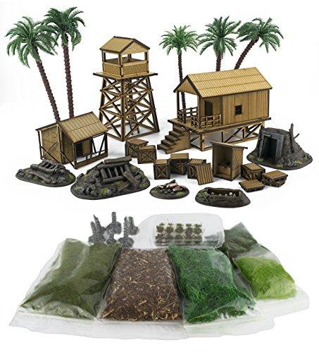 War World Gaming WWG Jungle Warfare Kit 5 - Dschungel Militärlager Komplettset mit Szenerie - 28mm Tabletop Gelände Modellbau Bolt Action Empires in Flames