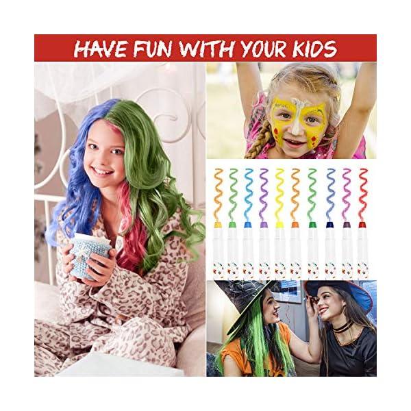 Fostoy Tiza para el Cabello,10 Colores No Tóxico Lavable Tinte Temporal Capilares para La Edad 4 5 6 Plus Niños Carnaval…