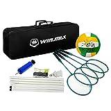 Winmax Badminton - Juego de 4 raquetas de voleibol para jugador, red de polos, voleibol, bomba y accesorios, juego de deportes para interiores y exteriores, portátil para patio trasero, playa, divertido con bolsa de transporte negra
