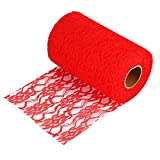 Yosoo Spitzenband Spitzenbordüre Spitze Rolle Borte für Hochzeitsdeko Tischdeko Party - 15cm x 20 m (Rot)
