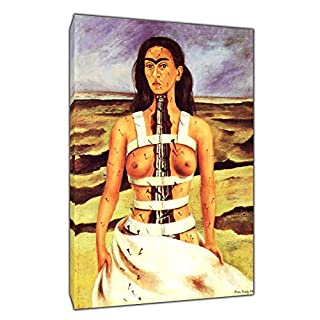 THE BROKEN COLUMN OIL PAINT BY FRIDA KAHLO REPRINT ON WOOD FRAMED CANVAS PICTURE WALL ART 20 x 12 inch -38mm depth