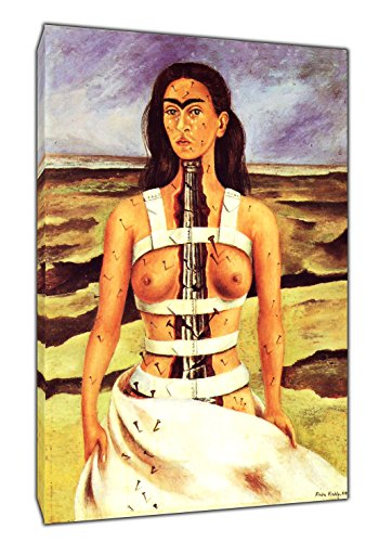 'mit-Sprühfarbe von Frida Kahlo Holz-gerahmt Leinwand Kunstdruck, 30 x 24 inch(76 x 60 cm)-38mm depth -