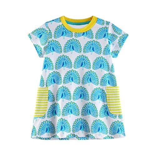 Amlaiworld sommer baby Gemütlich sport t-shirt kleid Mädchen bunt Pfau druck locker kleid niedlich Kleinkind oberteile Baumwolle kleidung mit Taschen, 0-6 Jahren (6 Jahren, Blau) (Pfau Kostüm Kleid)