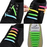 SCHNÜRRLIE Elastische Silikon Schnürsenkel Kinder und Erwachsene - perfekter Schnürbänder Ersatz für Sneaker Sportschuh (16 Stück Grün)