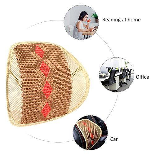 Coussin de support lombaire en maille, tissu respirant Structure robuste antidérapant ergonomique conçu pour le dos lombaire support Confort et bas du dos Soulagement de la douleur pour siège auto Chaise de bureau rhombus beige