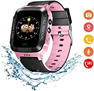 KEYMAO Smart Watch for Kids, LBS Tracker for Boys Girls with SOS Call Camera Flashlight Alarm 1.44'' T
