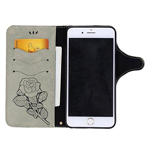 Custodia iPhone 6S Plus,Custodia iPhone 6 Plus,ikasus® iPhone 6S Plus / 6 Plus Custodia Cover [PU Leather] [Shock-Absorption] Protettiva Portafoglio Cover Custodia Con retro fibbia in pelle 3D rilievo Grigio