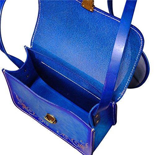 Mena UK Borsa grande tote e borsa a tracolla - pelle in abbronzatura vegetale - borsa in pelle scolpita originale ( Colore : Marrone chiaro , dimensioni : L=19CM(H=15.5CM) ) Blu