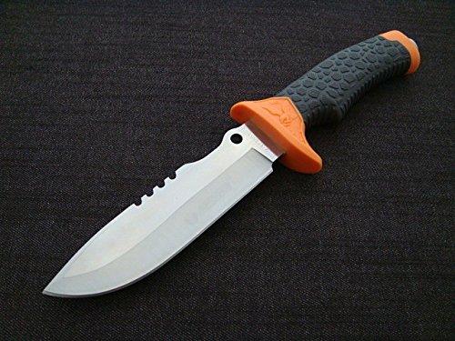 KOSxBO® Outdoormesser Orange Länge 28,5 cm inklusive Etui mit Säge und Glasbrecher - Fahrtenmesser - Jagdmesser - Anglermesser - Campingmesser - Rettungsmesser