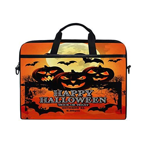 QMIN Laptoptasche für Halloween, Kürbis-Laterne, Mond, Tiermäuse, Reißverschluss, Messenger Bag mit Schultergurt, für Dell HP, Lenovo, MacBook