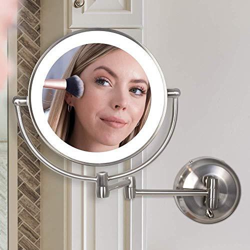LCJMTBD Espejo de Maquillaje Iluminado Montaje en Pared Aumento de10x Espejo cosmético y USB...