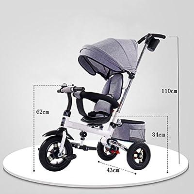 YC electronics Sillas de Paseo Triciclo Ride-on para niños Plegable con toldo Solar, con Asiento Giratorio y reclinable de 360 ° Sillas Ligeras