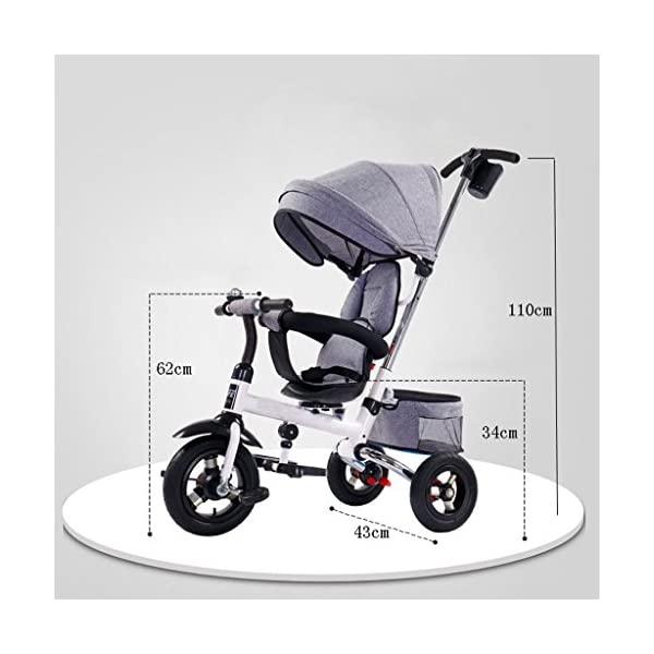 Folding Kids Ride-on Tricycle for Children with Sun Canopy, with 360° Rotating and Reclining Seat (Color : Gray) DUOER-Pushchairs Features assembled canopies without worrying about rain and sunshine,Safety features and safety belts are provided for safety. The pedal can be folded for more convenient use: the pedal can be folded to make travel more convenient. Upgrade the thickened sponge pillow to protect the baby's head and make the baby ride safer. 2