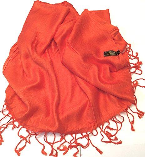 Solides secondes couleur châle pashmina enveloppe d'écharpe Châles Pashminas Foulards (60+ couleurs) Orange