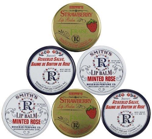 Rosebud Perfume Co. Three Lavish Layers of Lip Balm-Strawberry, Minted Rose, Rosebud Salve, 2 pack by Rosebud Perfume Co.