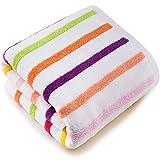XIAOLINZI Asciugamano da bagno grande a righe in cotone tinta unita per uomo e donna 27 * 55 pollici