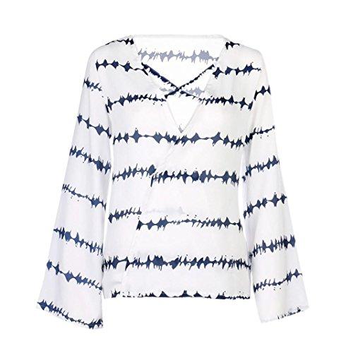 HUI.HUI Femmes Chemisier Casual Mousseline Chemise Dames Sexy Blouse Bande Longue T-Shirt Tops à Manches Longues Col V Chic Shirt Blanc