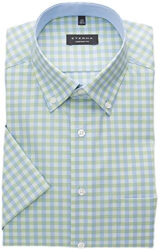 eterna Hemd Comfort Fit Kurzarm - 3585/40 K14L Hellgrün Kariert, Kragenweite/Größe:43 (Button-down-kragen Hemd)