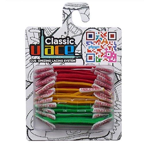 U-LACE - CLASSIC Lacets élastiques multicolores de 7 à 77 ans Adultes Enfants (RASTA)