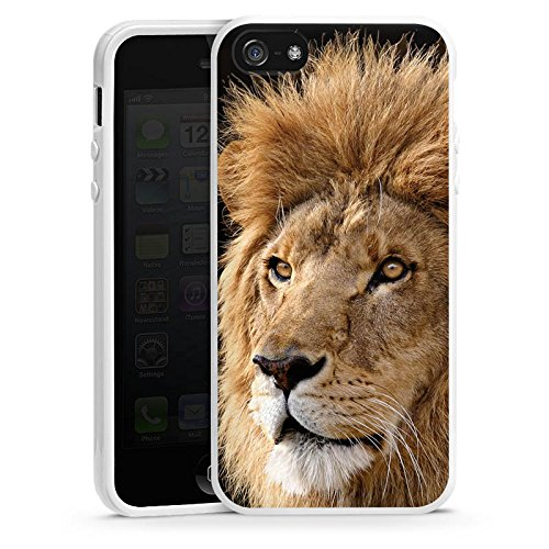 Apple iPhone 4 Housse Étui Silicone Coque Protection Le Roi lion Lion Félin Housse en silicone blanc