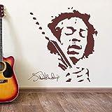 JIMMY HENDRIX Musik Wandkunst Vinyl Aufkleber Removable Home Decor Wandaufkleber Schlafzimmer DIY Wandbild 57x62 cm