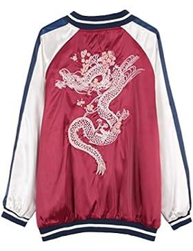 YNuth Mujeres Chaqueta Casual Bordada del Diseño Dragón Chino con Cremallera