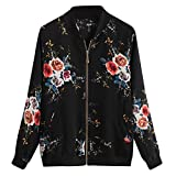 Drucken Freizeit reißverschluss Lange ärmel Mantel Womens Retro Blumendruck Zipper up Bomber Jacke Casual Outwear- hülse Sweatshirt Tops sportlichjacke Tunika-Lose Bluse-Sweatshirt (Schwarz,S)