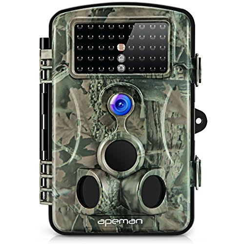 APEMAN Wildkamera 1080P Full HD Jagdkamera Gartenkamera 120°Breite Vision Infrarote 20m Nachtsicht 2.4' LCD Tierbeobachtungskamera