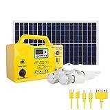 CONRAL Kit generador Sistema Solar 12 V, con 4 Bombillas de luz LED, Cable Carga 5 en 1, función de Radio FM, Kit de generador Solar Multifuncional para Viajes en el hogar y al Aire Libre, 12AH