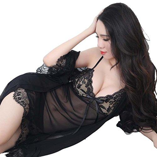 Damen Dessous Nachthemd Lace Halter NachtwäSche Set Mit String 3Pc Von Dragon868 (Schwarz, XL) (Zurück Panty)