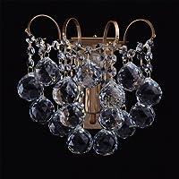 Applique lussuoso elegante colore ottone anticato metallo gocce cristalli pomposo in stile barocco classico in soggiorno o in camera da letto 1*60W E14 - escl - Elegante Cristallo