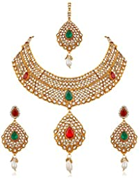 Trushi RAVISHING PRINCESS DESIGNER GOLD PLATED BRIDAL NECKLACES SET WITH MULTICOLOR STONES AND MANGTIKA FOR WOMEN...