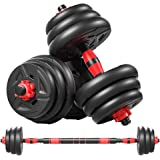 cikeRED Weights Dumbbell Barbell Set 3 in 1 Adjustable Weights Dumbbells Set Home Fitness Weight Set Gym Workout Exercise Tra