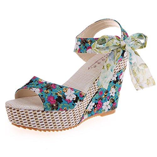 Makefortune-Damenschuhe Frauen Schuhe 2019 Sommer Neue Blumen süße Schnalle Keil Sandalen Open Toe Floral 8cm hochhackigen Plateauschuh Wedges
