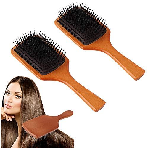Detangler Nylon Haar Bürste (BENPAO Haarbürste-Bambus-Paddelbürsten für Frauen, Männer und Kinder mit Allen Haartypen, zum Aushärten von durch Fliegen beschädigten Haaren und zum Wiederherstellen des natürlichen Glanzes)