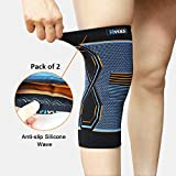 #10: Hykes Knee Cap Compression Support Sleeve For Pain Relief, Cycling, Running, Sports, Basketball, Badminton, Jogging, Gym, Workout, Arthritis fits Men and Women(Pair) (Medium)