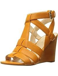 Nine West Women'S Farfalla Leather Wedge Sandal, Anaranjado, 41 B(M) EU/8 B(M) UK