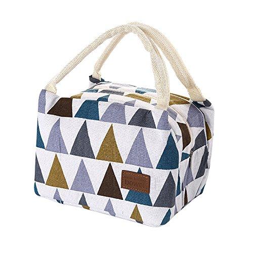 Senoow Portable Isolierte Lunch Bag Tote Picknick Handtasche Frischhaltedose Mittagessen Veranstalter Große 4 Arten Für Frauen Männer Kinder Mädchen Jungen (Multicolor-Dreieck) (Multicolor-lagerung-container)
