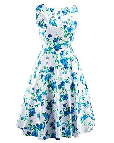 Femmes Audrey Hepburn Élégant Sans Manches Rockabilly Swing Robe Imprimé de Fleurs Parfait Pour Soirée Vert