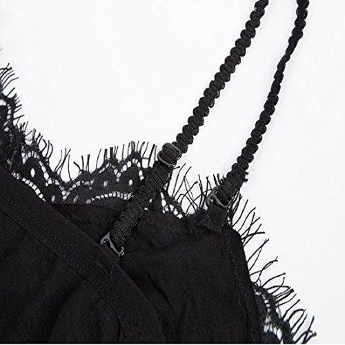 Culater® Femmes Sous-vêtements Sexy Tops Sheer Condole Dentelle Sangle Lingerie Soutien-gorge Noir