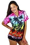 V.H.O. Funky Hawaiihemd Hawaiibluse, Kurzarm, Beach, Babypink, S