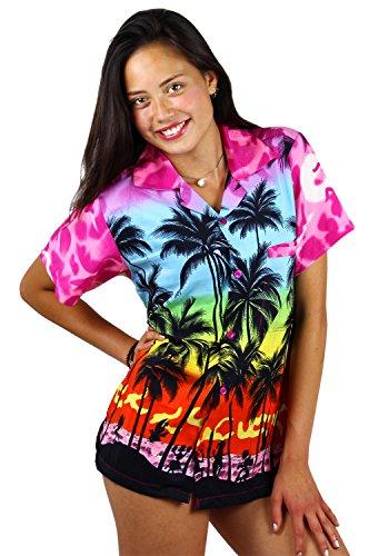 V.H.O. Funky Hawaiihemd Hawaiibluse, Kurzarm, Beach, Babypink, M -