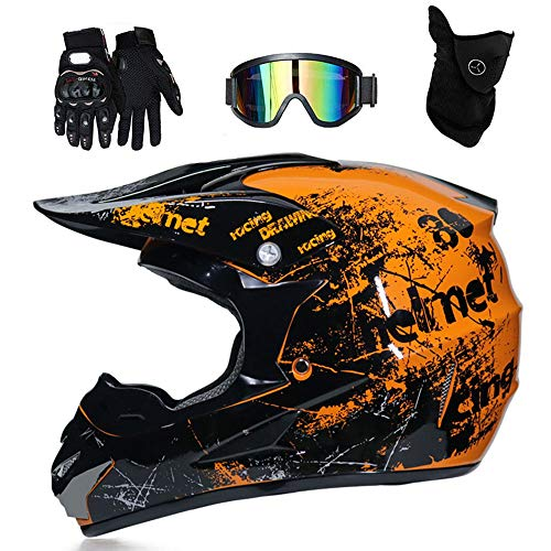 Erwachsenen Motocross Helm MX Motorrad Helm ATV Roller ATV Helm D.O.T Certified Rockstar Multicolor mit Schutzbrille Handschuhe Maske (S, M, L, XL),L(59~60cm)