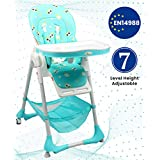 R for Rabbit Marshmallow 7 Levels Smart Feeding Table High Chair for New Born Baby Kids Toddlers from 0 to 5 Years with Multiple Recline Position and Study Table & Booster Chair(Green)