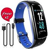 JAZIPO Fitness Armband mit Pulsmesser Blutdruck, Wasserdicht IP68 Fitness Tracker Smartwatch GPS Aktivitätstracker Pulsuhren Blutdruckmesser Vibrationsalarm Anruf SMS für Damen Männer (Blau)