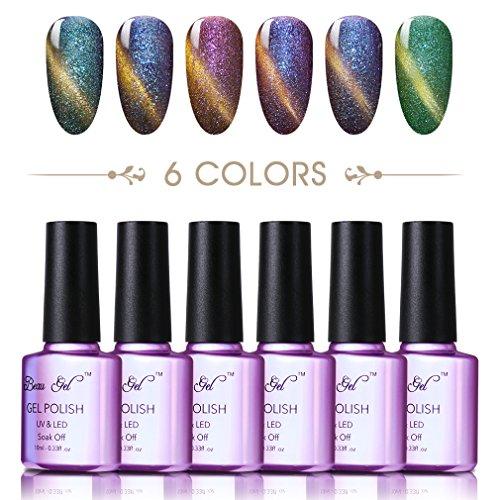 gellack, Hologramm, regenbogenfarbene Maniküre, glänzende Nail Art, (6Flaschen, je 10ml) (Uv Lack Glow In The Dark)